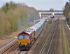66122 powers through Tilehurst with 4M52 car carriers from Southampton E.Docks - Castle Bromwich Jaguar<br /> <br /> 4 March 2014