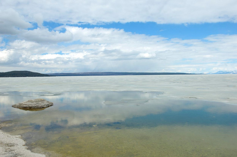Yellowstone Lake, frozen over at West Thumb