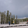 Wick Trees get attention from a gaggle of photographers in the Upper Geyser Basin<br /> Yellowstone National Park