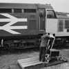 Changing the points on the ground frame at Georgemas Junction <br /> to allow the Thurso portion of the Wick - Inverness train to be added to the southbound service<br /> <br /> Loco is 37421<br /> <br /> June 1986