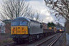 With 31190 leading,  56312 brings up the rear of 6Z32  from Newark  to Eastleigh at St Johns Way and cross with 450109  heading  to Waterloo with 2S50  the 16.03 from Weybridge.<br /> <br /> 3 March 2014