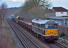 Returning from its weekend away!<br /> 31190 leads  6Z32 from Newark North Gate to Eastleigh past Chertsey in horribly dull conditions.<br /> Bringing up the rear of the consist is 56312.<br /> <br /> 3 March 2014